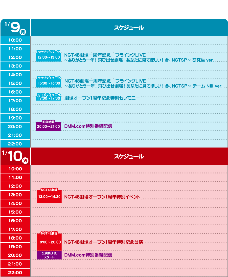 NGT48 1周年 タイムテーブル